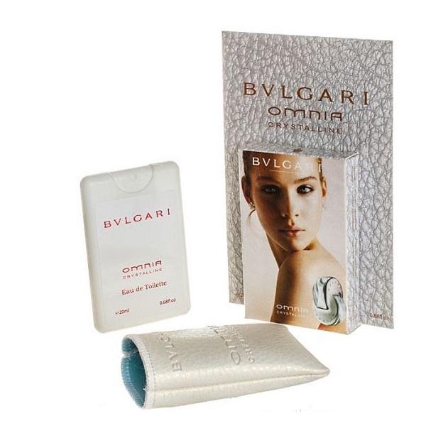 Bvlgari Omnia Crystalline — мини парфюм в кожаном чехле 20ml для женщин