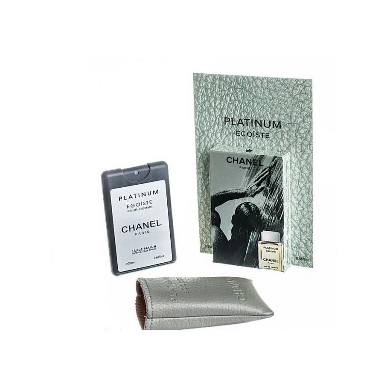 Chanel Egoiste Platinum — мини парфюм в кожаном чехле 20ml для мужчин