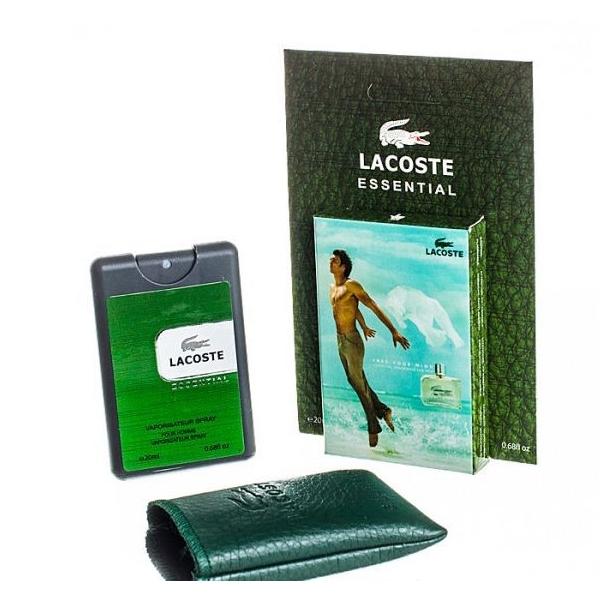Lacoste Essential — мини парфюм в кожаном чехле 20ml для мужчин