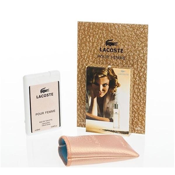 Lacoste Pour Femme — мини парфюм в кожаном чехле 20ml для женщин