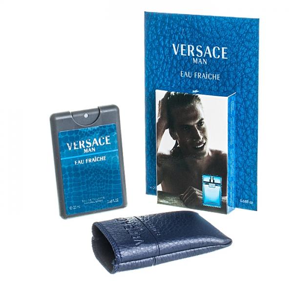 Versace Man Eau Fraiche — мини парфюм в кожаном чехле 20ml для мужчин