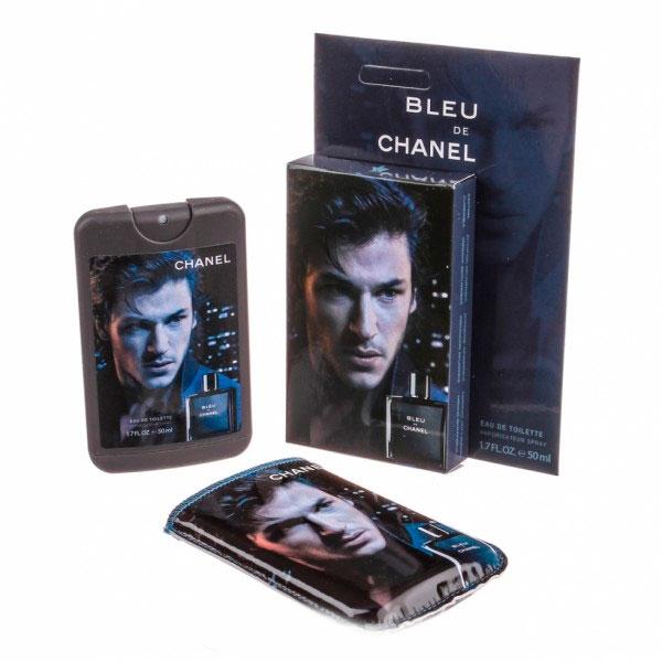 Chanel Bleu de Chanel — мини парфюм в кожаном чехле 50ml для мужчин