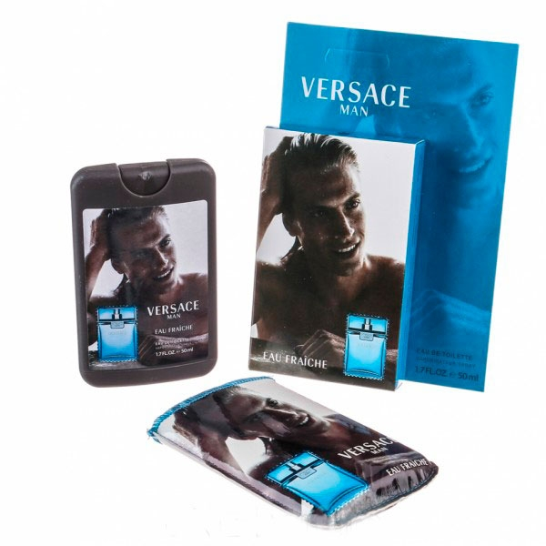 Versace Man Eau Fraiche — мини парфюм в кожаном чехле 50ml для мужчин