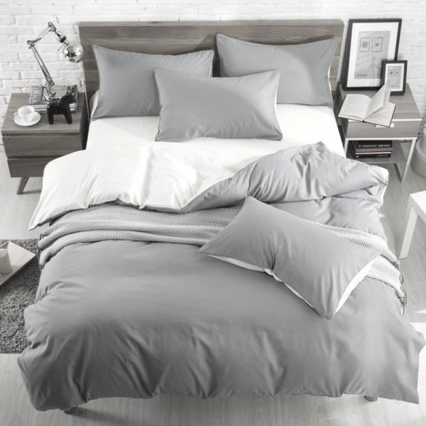 Постельный комплект Однотонный Серый и белый, поплин