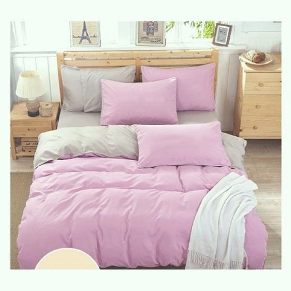 Постельный комплект Однотонный серый и розовый, поплин