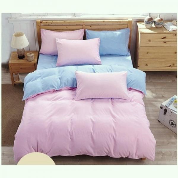 Постельный комплект Однотонный розовый и голубой, поплин