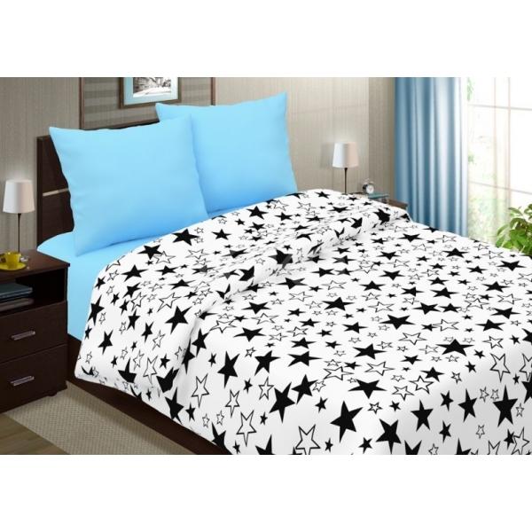 Постельный комплект Звезды с голубым, поплин