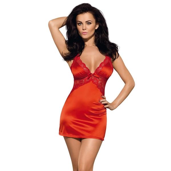 Женственная сорочка с кружевом Secred red