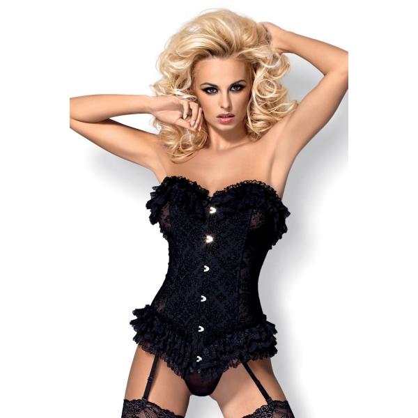 Сексуальный корсет с завязками для чулок Obsessive Baletti corset black